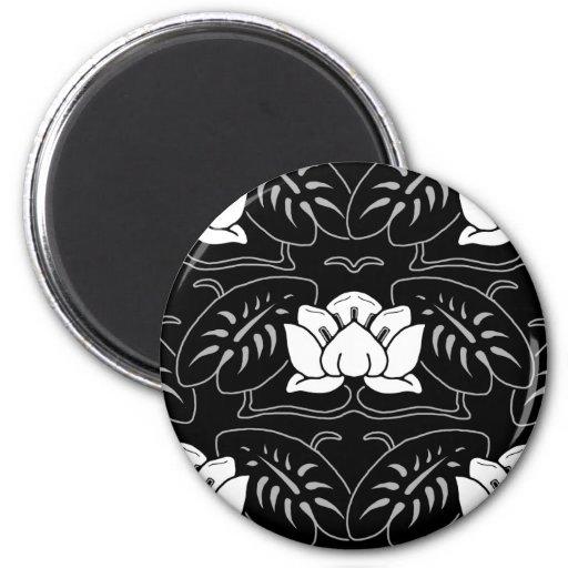 Dark Water Lily Motif Fridge Magnet