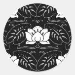 Dark Water Lily Motif Round Stickers