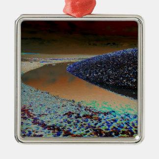 Dark Water Silver-Colored Square Decoration