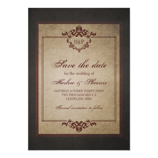 Dark Weathered Gothic Monogram Save the Date Card