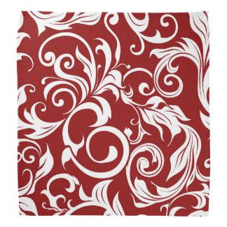 Dark Wine Red Floral Wallpaper Swirl Pattern Bandana