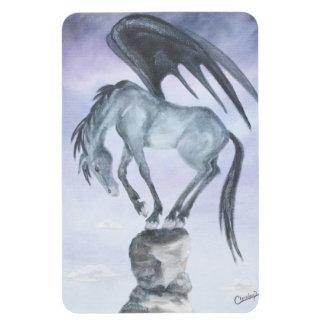 Dark Winged Fantasy Horse Castle Magnet