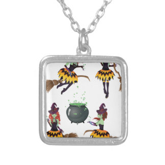 Dark Witch with Broom 2 Square Pendant Necklace