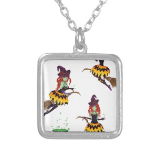 Dark Witch with Broom 3 Square Pendant Necklace