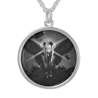 Dark witches round pendant necklace