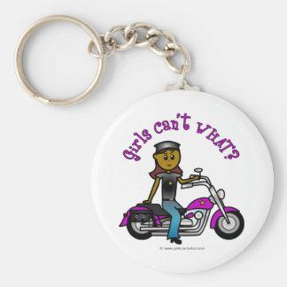 Dark Woman Biker Basic Round Button Key Ring