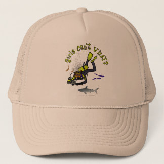 Dark Woman Scuba Diver Trucker Hat