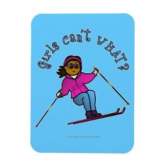 Dark Woman Snow Skiing Rectangular Photo Magnet