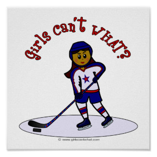 Dark Womens Hockey Player Poster