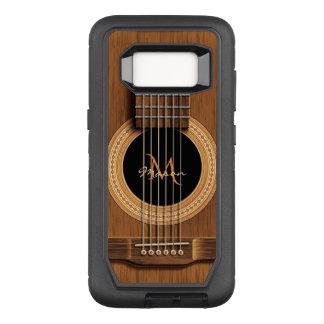 Dark Wood Acoustic Guitar Monogram OtterBox Defender Samsung Galaxy S8 Case