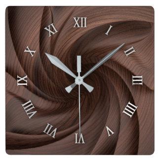 Dark wood design wall clock