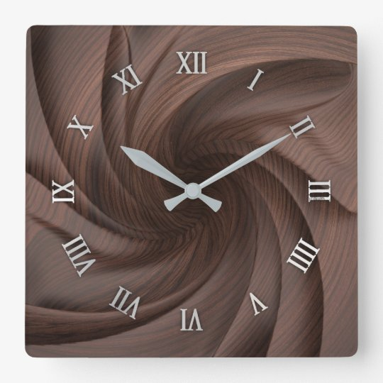 Dark wood design wall clock