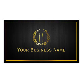 Dark Wood Gold Dining/Catering Business Card