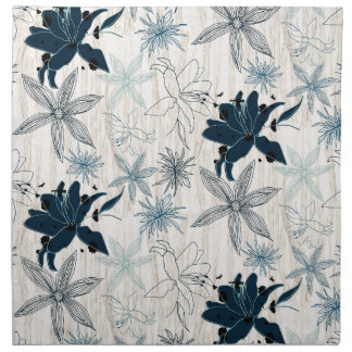 dark wood grain flowers napkin