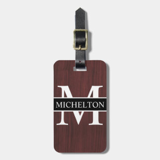 Dark Wood Grain Personalized Luggage Tag