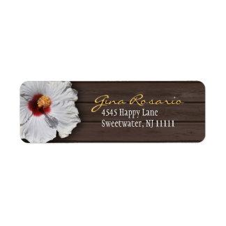 Dark Wood & Hibiscus : Return Address Labels