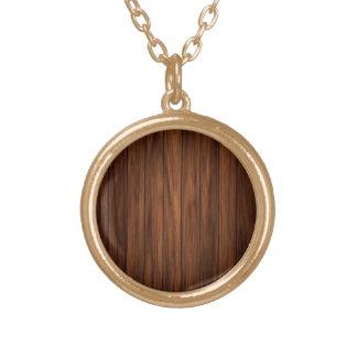 Dark Wood Round Pendant Necklace