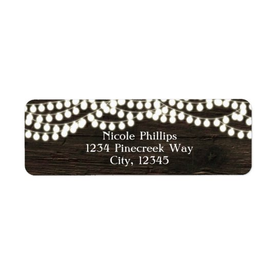 Dark Wood & String Lights Rustic Address Labels