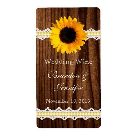 Dark Wood & Sunflower Mini Wine Labels