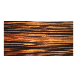 Dark Wood Veneer Customized Photo Card