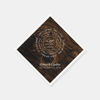Dark Wood Wedding Scripture Custom Paper Napkins Disposable Serviette