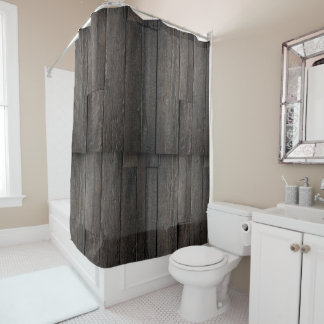 dark wooden planks shower curtain