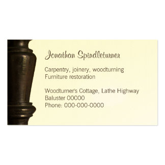 Dark wooden spindle close-up pack of standard business cards
