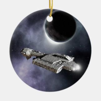 Dark World - Science Fiction Battle Cruiser Round Ceramic Decoration