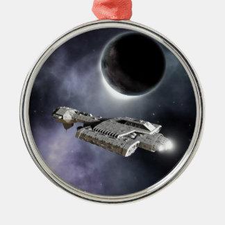 Dark World - Science Fiction Battle Cruiser Silver-Colored Round Decoration
