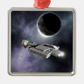 Dark World - Science Fiction Battle Cruiser Silver-Colored Square Decoration