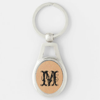 Dark Yellow Canvas Silver-Colored Oval Key Ring