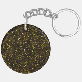Dark Yellow Gold Glitter Double-Sided Round Acrylic Key Ring