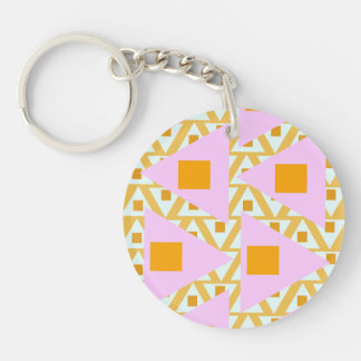 dark yellow pink orange mixed triangles Double-Sided round acrylic key ring