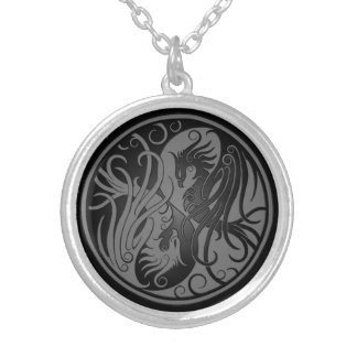 Dark Yin Yang Phoenix Silver Plated Necklace