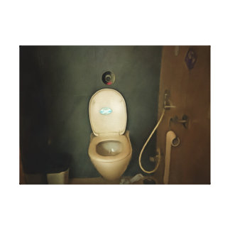 Darkened view of a commode stretched canvas print