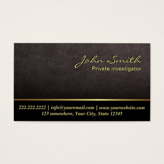 Darker Leather Investigator Business Card