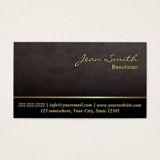 Darker Leather Texture Beautician Business Card