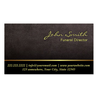 Darker Leather Texture Funeral Business Card