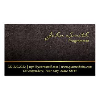 Darker Leather Texture Programmer Business Card