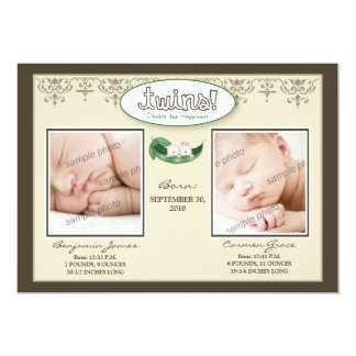 Darling 5x7 Twin Boy/Girl Taupe Birth Announcement
