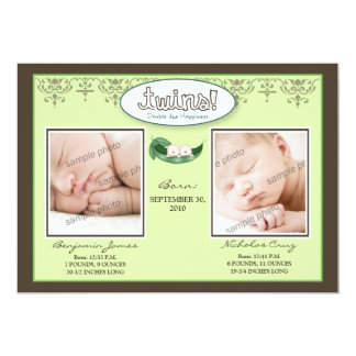 Darling 5x7 Twin BOYS Birth Announcement (lime)