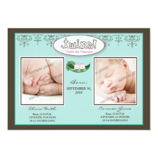 Darling 5x7 Twin GIRLS Birth Announcement (aqua)