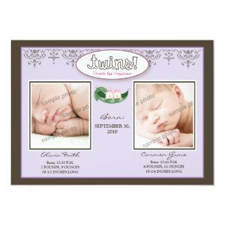 Darling 5x7 Twin GIRLS Birth Announcement (lilac)