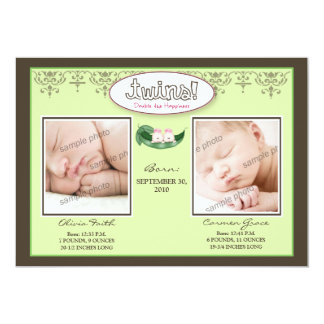 Darling 5x7 Twin GIRLS Birth Announcement (lime)