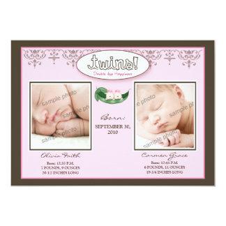 Darling 5x7 Twin GIRLS Birth Announcement (pink)