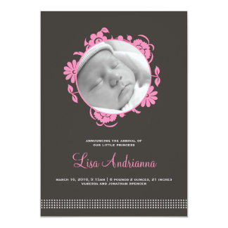 "Darling Blooms Birth Announcement in Pink and Gray 5"" X 7"" Invitation Card"