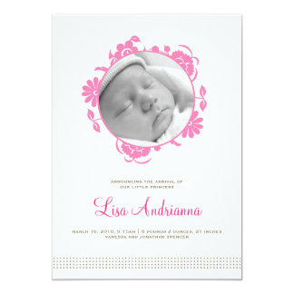 "Darling Blooms Birth Announcement in Pink 5"" X 7"" Invitation Card"