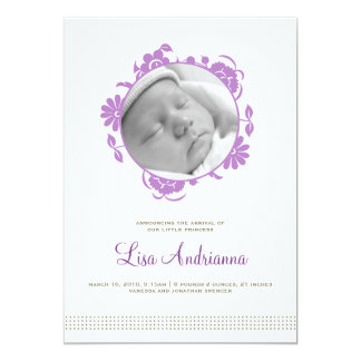 "Darling Blooms Birth Announcement in Purple 5"" X 7"" Invitation Card"
