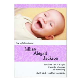 """Darling Daisies Birth Announcement with Photo 5"""" X 7"""" Invitation Card"""