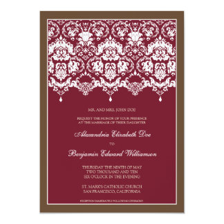 "Darling Damask Lace 5x7 Wedding Invitation: berry 5"" X 7"" Invitation Card"